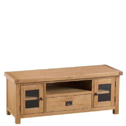 Oslo Oak Large TV Unit with Glazed Doors